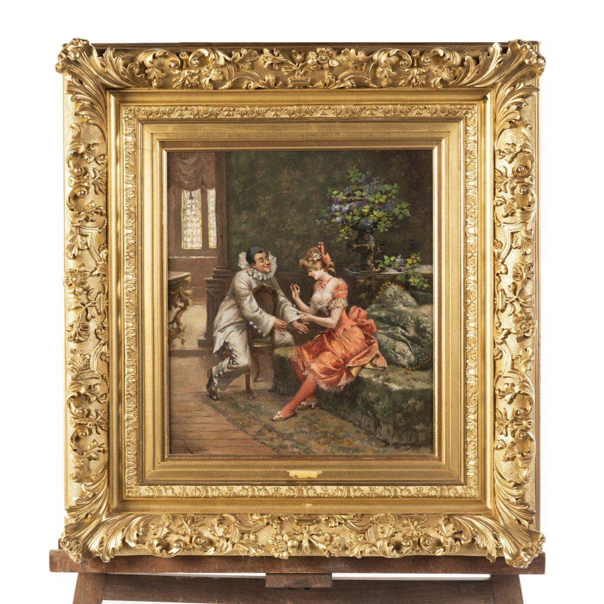 """Enrique Miralles ( ? - 1883), huile sur toile, """"Jeune femme réparant l'habit de Pierrot"""", XIXe"""