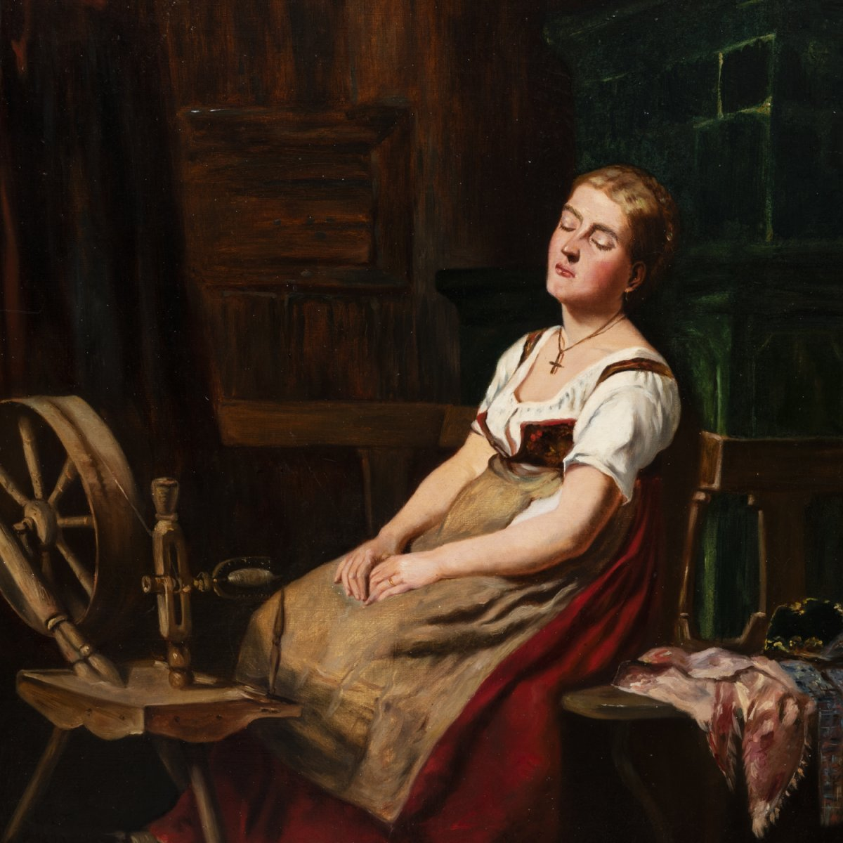 French School, Oil On Canvas, Romantic Scene, XIXth-photo-2
