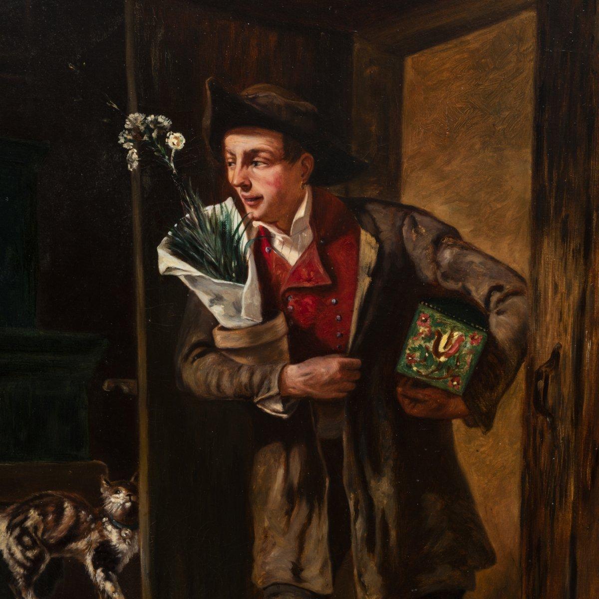 French School, Oil On Canvas, Romantic Scene, XIXth-photo-4