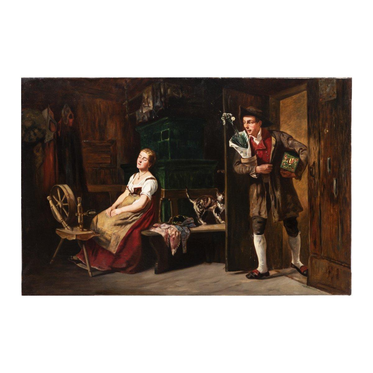 French School, Oil On Canvas, Romantic Scene, XIXth