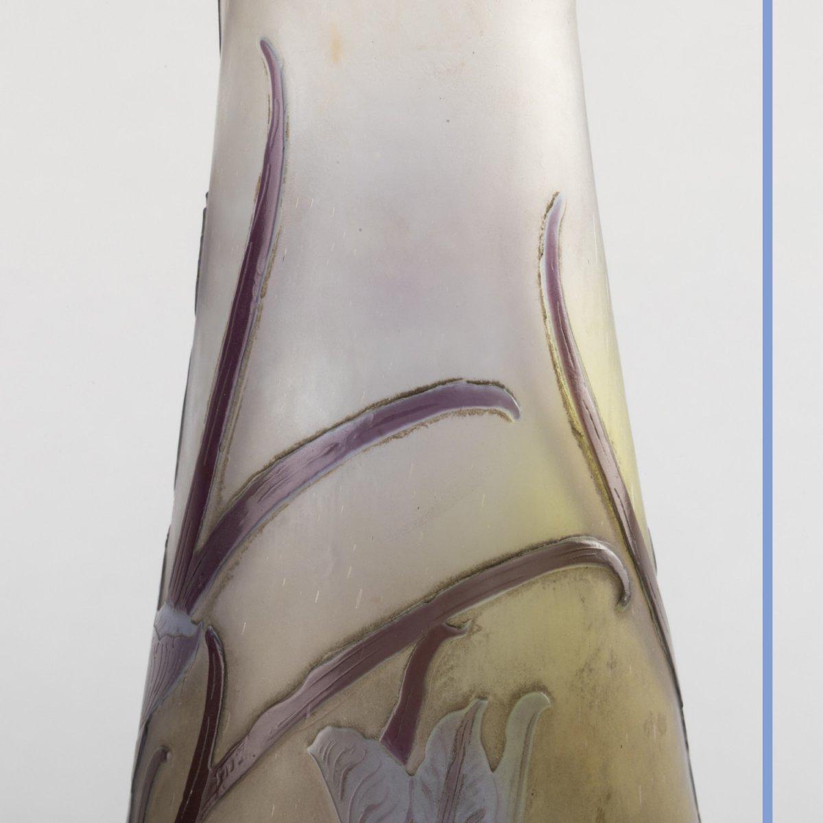 Emile Gallé (1846-1904), vase aux Iris en verre multicouche à décor de fleurs brun et bleu clair, XIXe-photo-4