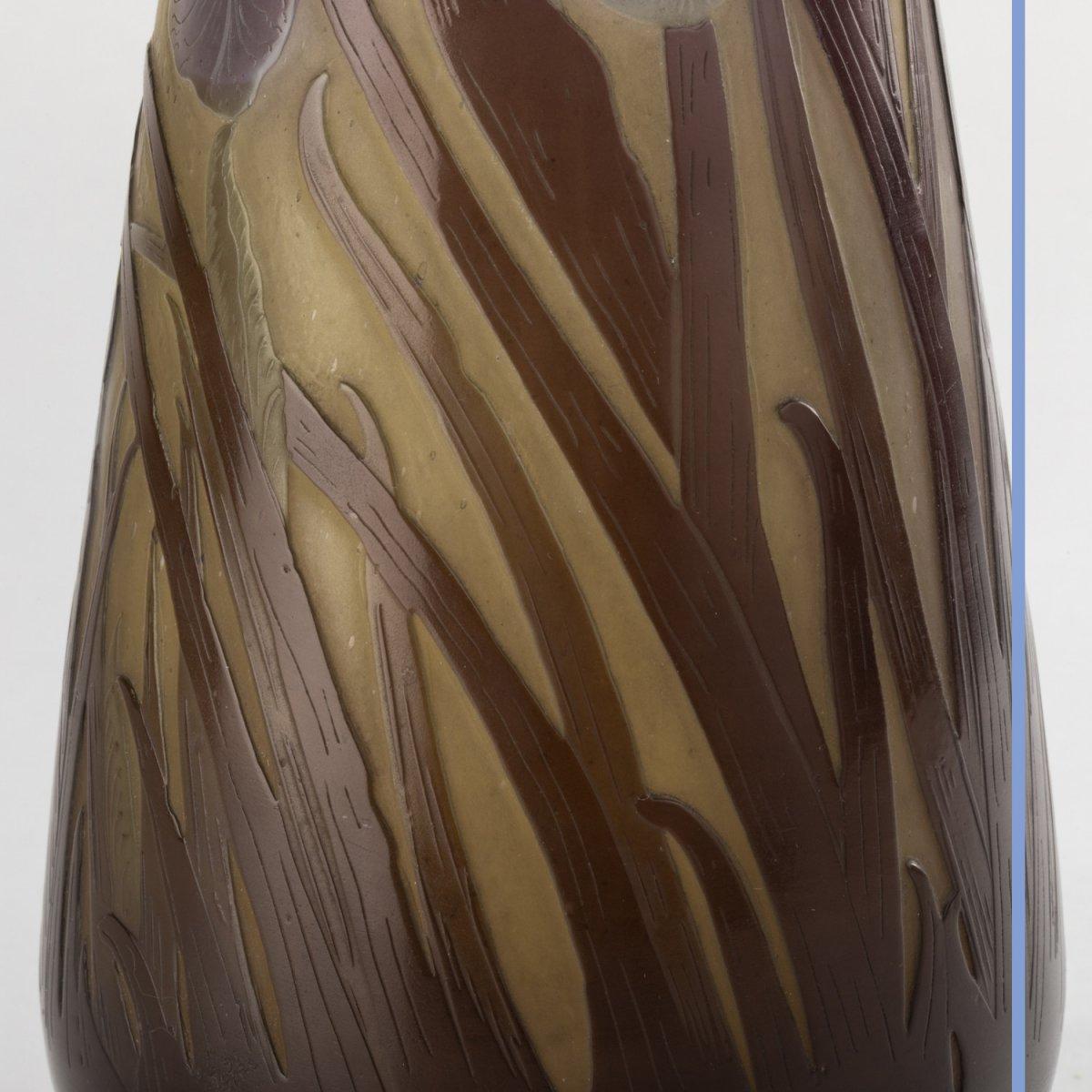 Emile Gallé (1846-1904), vase aux Iris en verre multicouche à décor de fleurs brun et bleu clair, XIXe-photo-6