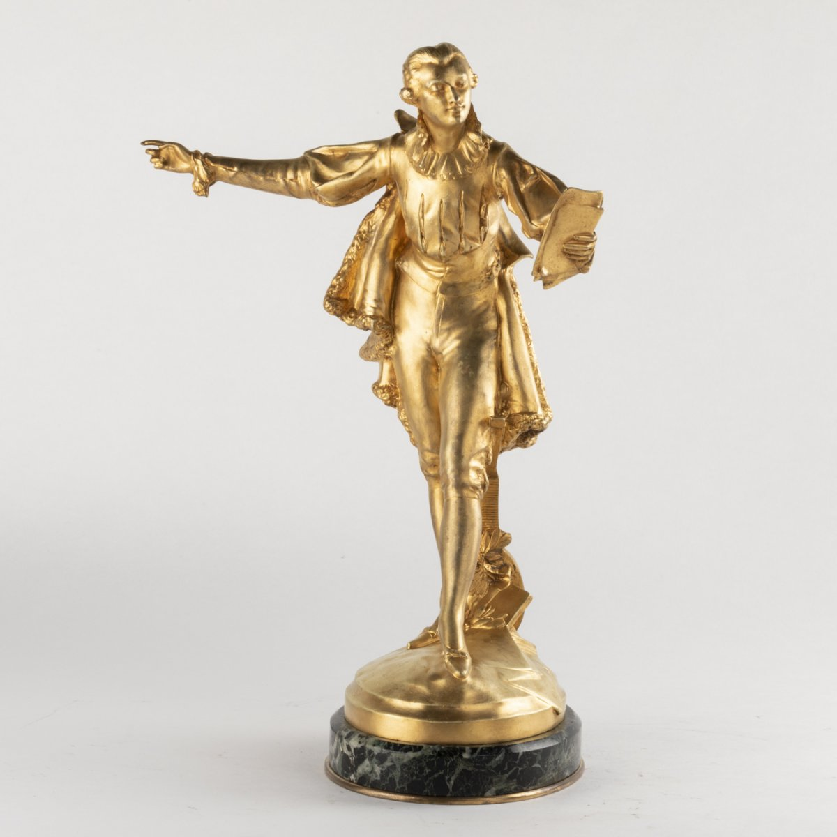 Paul Ducuing (1867-1949), Casanova, bronze doré sur son socle en marbre, XIXe