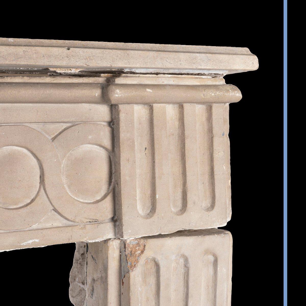 Cheminée en pierre sculpté à décor de spirales et de cannelures, XIXe-photo-3