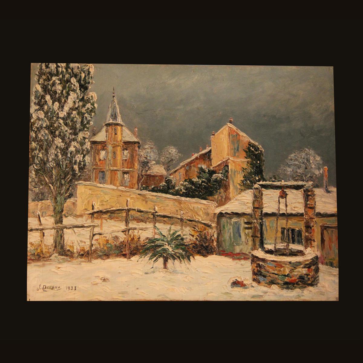 """Huile sur bois """"Paysage enneigé"""", signé G.Decaux, 1933"""