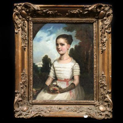"""Huile sur toile """"Portrait de Jeune fille"""", XIXe"""