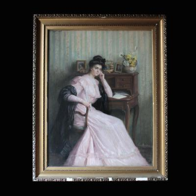 "Pastel ""Femme Pensive"", Louise Beauferey (XIX - XX)"