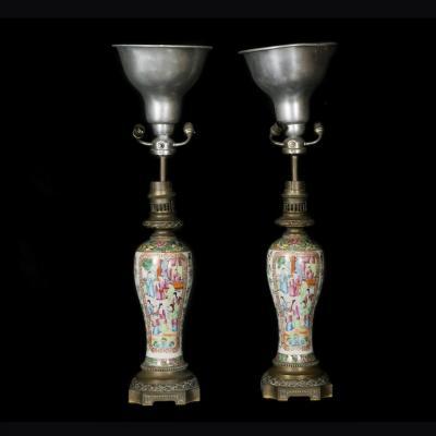 Paire de lampes de table, Canton, XIXe