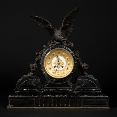 """Pendule """"L'aigle"""" en marbre et bronze, XIXe"""