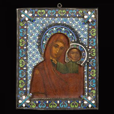 """Icône, """"Vierge et l'Enfant"""", émaux cloisonnés, XIXe"""