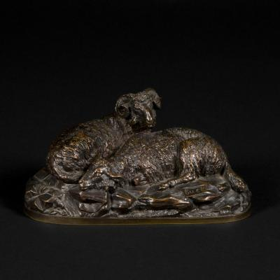 "Bronze animalier ""Bélier et Brebis"", Buci, XIXe"