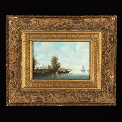 """Huile sur toile """"La barque"""", XIXe"""