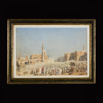 Paire de gravures rehaussées à l'aquarelle, Toudouze , XIXe