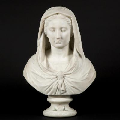 Buste en marbre de la Sainte Vierge Marie, XIXe
