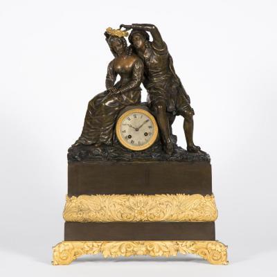 Pendule romantique en bronze, XIXe