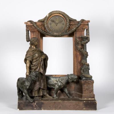 """Pendule en terre cuite peinte """"César et deux lions"""", XXe"""