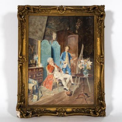 """Bernard Louis Borione (1865-) """"Le peintre dans son atelier"""""""