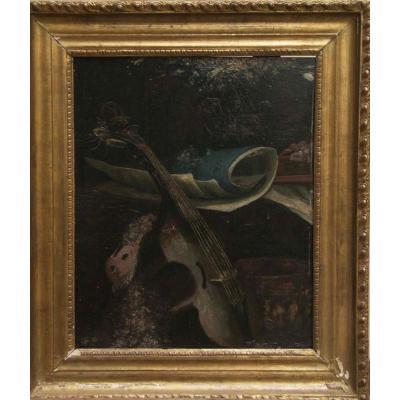 Huile sur panneau, Nature morte au violon, XIXe