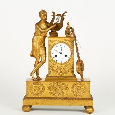 """Pendule """"Orphée"""" en bronze doré, XIXe"""