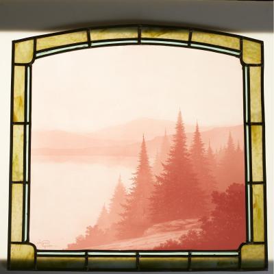 """Jacques Gruber (1870-1936), vitrail """"Paysage des Vosges"""", XX"""