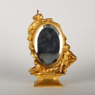 Miroir de table en bronze doré, XIXe
