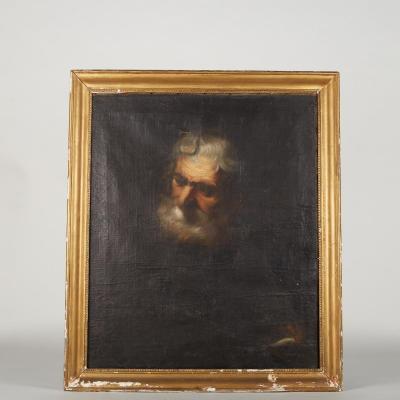 Huile sur toile, portrait de vieillard, XIXe