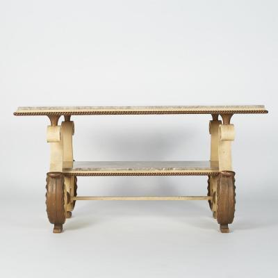Table basse en fer forgé peint, XXe