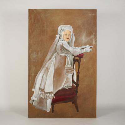 Thierry Bisch (1953), Charlotte en Communiante, huile sur toile, 1994