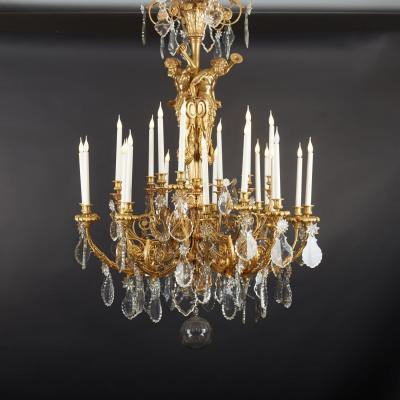 Lustre aux musiciens en bronze doré et cristal, XIXe