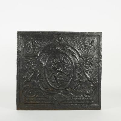 """Plaque de cheminée """"Héraclès"""" en fonte, XIXe"""