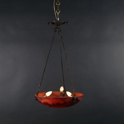 Muller Frères Lunéville, suspension en verre gravé multicouche et fer forgé, XXe