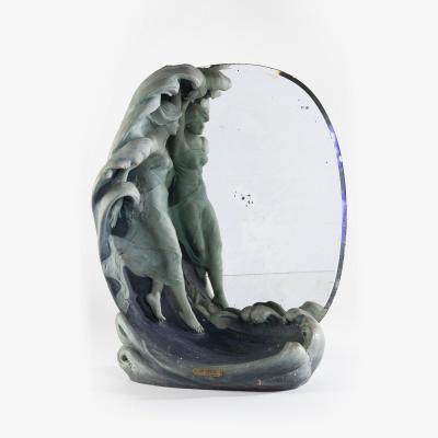 Lorenzo Vergnano (1850-1910), La Vague, sculpture en terre cuite avec miroir, XIXe