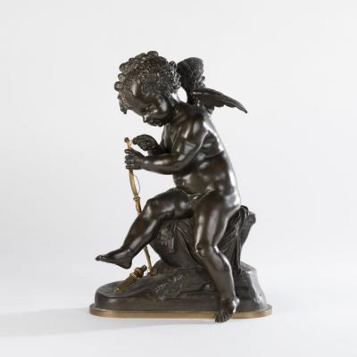 Ch. Gautier, Eros réparant son arc, bronze à patine brune,  XIXe