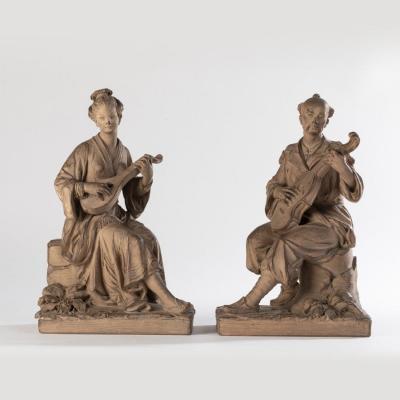 Paire de sculptures orientalistes en terre cuite, XIXe