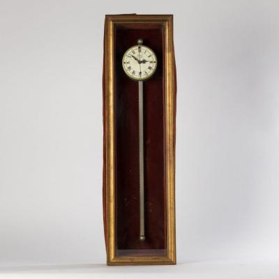 Cogwheel Clock, Gilded Wooden Case Garnished With Velvet, Twentieth Century
