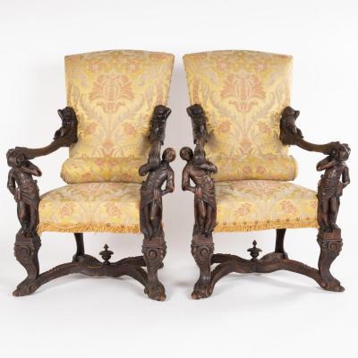 Paire de fauteuils en noyer sculpté dans le goût de Andrea Brustolon (1662-1732)