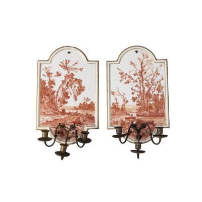 Paire d'appliques en porcelaine de Limoges aux paysages lacustres, XIXe