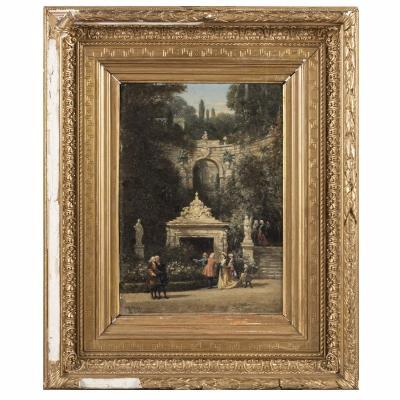 William Wyld (1806-1889), Huile sur toile, scène de parc animé, cadre en bois sculpté doré, XIXe