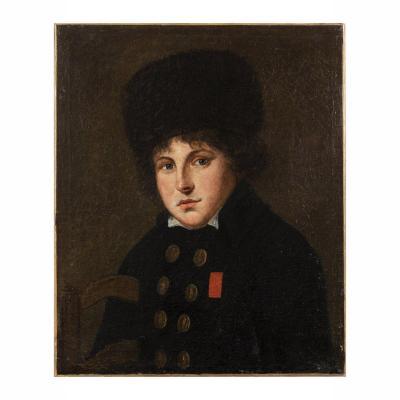 Huile sur toile, portrait de soldat russe, XIXe