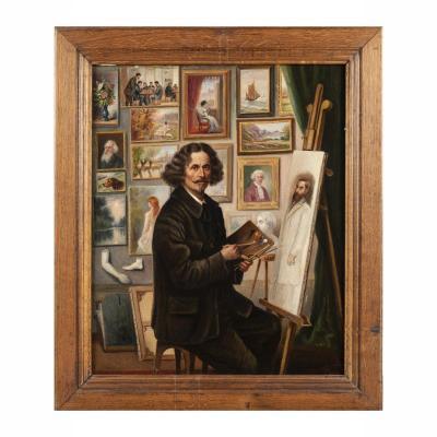 Huile sur toile, portrait de peintre dans son atelier, cadre en bois naturel, XXe