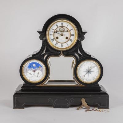 Constantin-Louis Detouche (1810-1889), pendule  à quantième et baromètre en marbre noir, XIXe