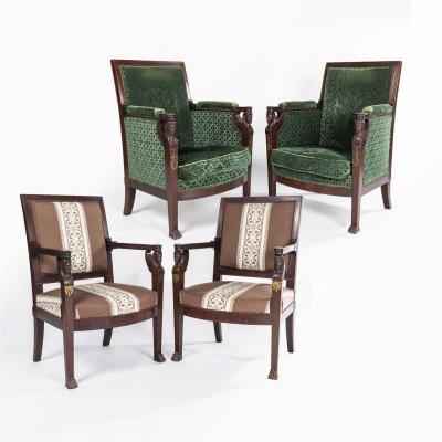 Salon Empire aux sphinges ailées composé de deux bergères et de deux fauteuils, XIXe
