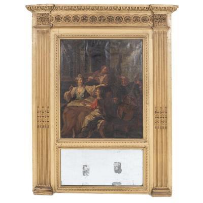 """Trumeau en bois et stuc doré et son huile sur toile """"Les Musiciens"""", XIXe"""