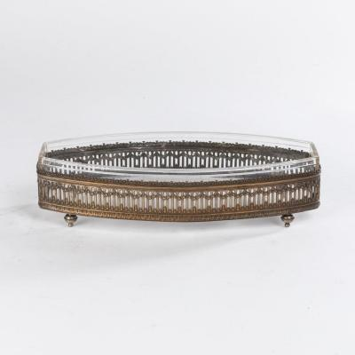 Elongated Cut In Engraved Silver And Glass, Nineteenth Century