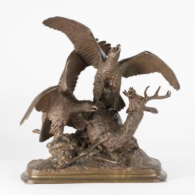 Christophe Fratin (1801-1864), Cerf attaqué par deux aigles, bronze à patine brune, XIXe