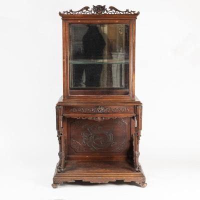 Maison Alphonse Giroux, cabinet vitrine en bois teinté sculpté au dragon, XIXe