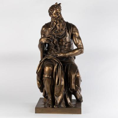 Ferdinand Barbedienne (1810-1892), d'après Michel-Ange (1475-1564), Moïse, Bronze, XIXe