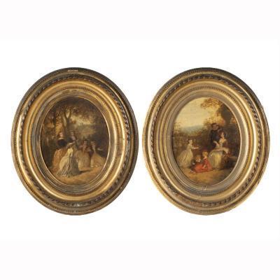 Jean Nicolas Ventadour (1822-1880), paire de huiles sur panneau, 1858