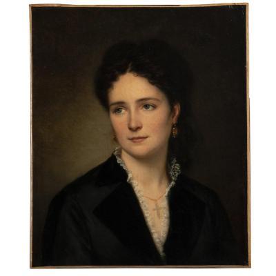 École Française, Portrait de femme, huile sur toile, XIXe