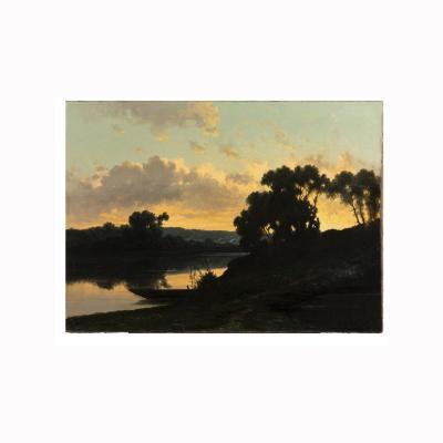 R. T. Stuart (XIXe), Coucher de soleil sur un paysage lacustre, huile sur toile, XIXe